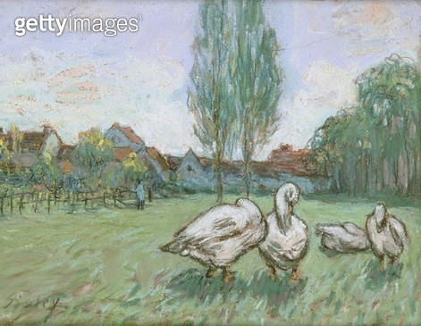 <b>Title</b> : Geese (pastel)<br><b>Medium</b> : pastel on paper<br><b>Location</b> : Private Collection<br> - gettyimageskorea