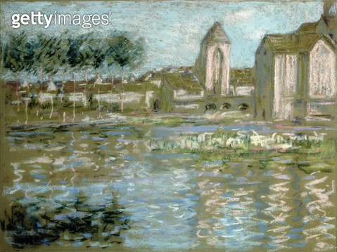 <b>Title</b> : Moret-sur-Loing, c.1890 (pastel)<br><b>Medium</b> : pastel on paper<br><b>Location</b> : Private Collection<br> - gettyimageskorea