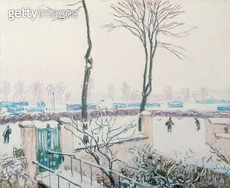<b>Title</b> : Snow Scene at Moret, c.1894 (pastel)<br><b>Medium</b> : pastel on paper<br><b>Location</b> : Private Collection<br> - gettyimageskorea