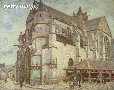 <b>Title</b> : The Church at Moret, Frosty Weather, 1893<br><b>Medium</b> : oil on canvas<br><b>Location</b> : Private Collection<br> - gettyimageskorea