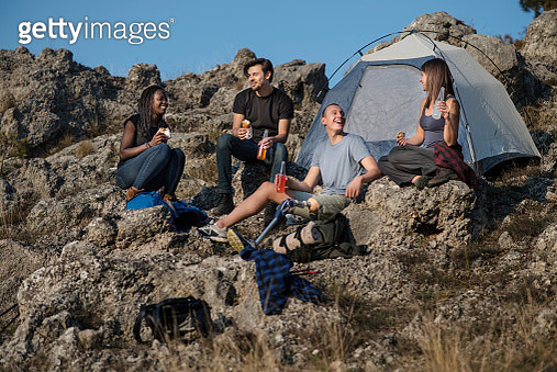Friends hiking and camping in the mountain - gettyimageskorea