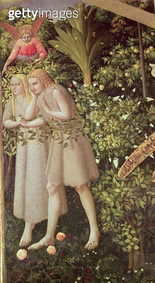 <b>Title</b> : Adam and Eve Expelled from Paradise, detail from the Annunciation, c.1430-32 (oil on panel)<br><b>Medium</b> : oil on panel<br><b>Location</b> : Prado, Madrid, Spain<br> - gettyimageskorea