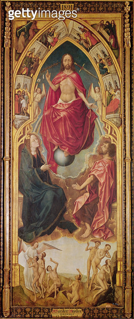 <b>Title</b> : Right hand panel of a triptych of the Last Judgement depicting the Redemption (oil on panel)<br><b>Medium</b> : oil on panel<br><b>Location</b> : Prado, Madrid, Spain<br> - gettyimageskorea