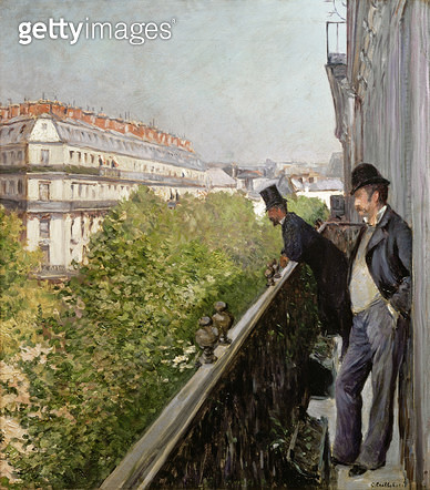 <b>Title</b> : A Balcony, Boulevard Haussmann, 1880 (oil on canvas)<br><b>Medium</b> : oil on canvas<br><b>Location</b> : Private Collection<br> - gettyimageskorea