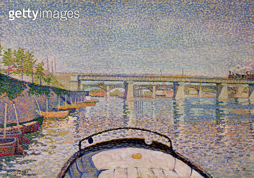 <b>Title</b> : The Bridge at Asnieres, 1888 (oil on canvas)<br><b>Medium</b> : oil on canvas<br><b>Location</b> : Private Collection<br> - gettyimageskorea
