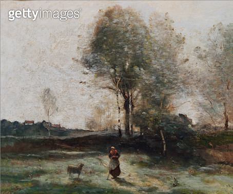 <b>Title</b> : Landscape or, Morning in the Field (oil on canvas)<br><b>Medium</b> : oil on canvas<br><b>Location</b> : Musee des Beaux-Arts, Dunkirk, France<br> - gettyimageskorea