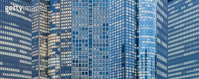 Photomontage of illuminated skyscrapers in Frankfurt, Germany - gettyimageskorea