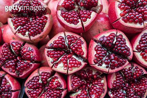 Close up of pomegranate at street market, Kuala Lumpur - gettyimageskorea