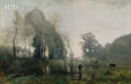 <b>Title</b> : Morning at Ville-d'Avray or, The Cowherd, 1868 (oil on canvas)<br><b>Medium</b> : oil on canvas<br><b>Location</b> : Musee des Beaux-Arts, Rouen, France<br> - gettyimageskorea