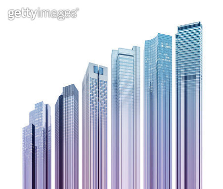 Skyscrapers in different sizes forming a rising bar graph - gettyimageskorea