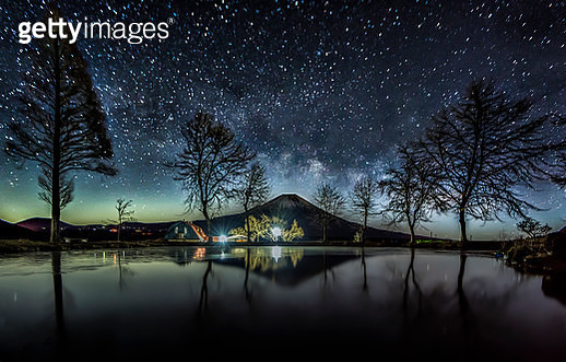 Milky way above Fuji-san at Fumotoppara Camp Ground - gettyimageskorea