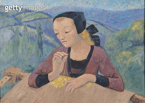 <b>Title</b> : The Embroideress (oil on canvas)<br><b>Medium</b> : oil on canvas<br><b>Location</b> : Musee des Beaux-Arts, Nantes, France<br> - gettyimageskorea