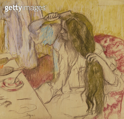 <b>Title</b> : Woman at her toilette, c.1885 (pastel on cardboard)<br><b>Medium</b> : pastel on cardboard<br><b>Location</b> : Hermitage, St. Petersburg, Russia<br> - gettyimageskorea