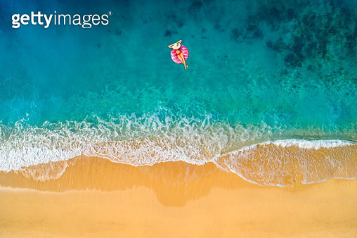 Aerial view of swimming in clear turquoise water. Mediterranean sea. - gettyimageskorea