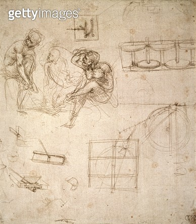 <b>Title</b> : Studies of Figures and of Machinery (silverpoint on paper)<br><b>Medium</b> : silverpoint on paper<br><b>Location</b> : Ashmolean Museum, University of Oxford, UK<br> - gettyimageskorea