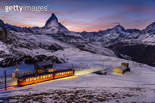 Matterhorn scene with Gornegrat railway that is one of landmark in Zermatt, Switzerland - gettyimageskorea