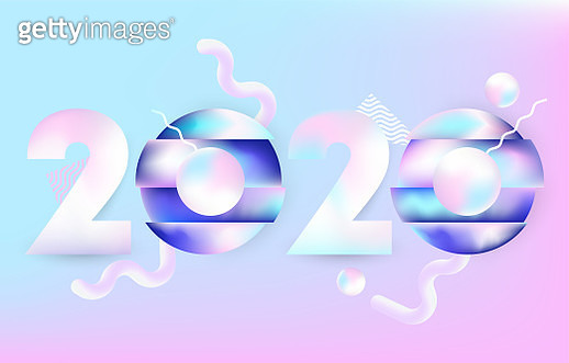 2020 design vectror with 3d elements - gettyimageskorea