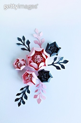 Pink and black paper flowers on the white backround - gettyimageskorea