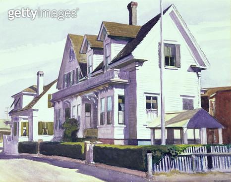 <b>Title</b> : House at Provincetown, 1930 (w/c on paper)<br><b>Medium</b> : watercolour on paper<br><b>Location</b> : Fred Jones Jr. Museum of Art, University of Oklahoma, USA<br> - gettyimageskorea