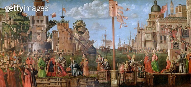 <b>Title</b> : The Meeting of Etherius and Ursula and the Departure of the Pilgrims, from the St. Ursula Cycle, originally in the Scuola di San<br><b>Medium</b> : oil on canvas<br><b>Location</b> : Galleria dell' Accademia, Venice, Italy<br> - gettyimageskorea
