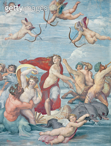<b>Title</b> : The Triumph of Galatea, 1512-14 (fresco) (see also 108063-4)<br><b>Medium</b> : fresco<br><b>Location</b> : Villa Farnesina, Rome, Italy<br> - gettyimageskorea