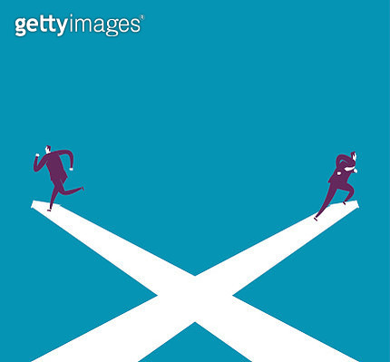 Two businessman running on Crossing arrow sign - gettyimageskorea