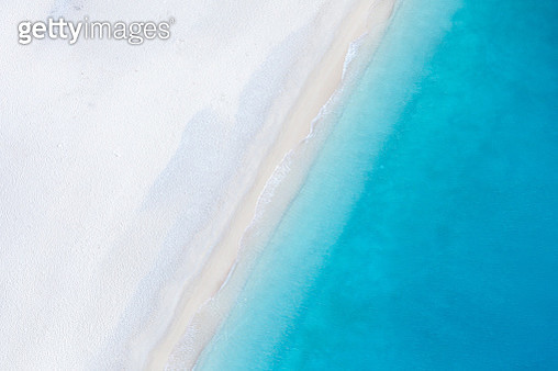 Aerial view of deserted sandy beach. Zakynthos, Greek Islands, Greece - gettyimageskorea
