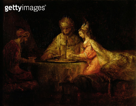 <b>Title</b> : Ahasuerus (Xerxes), Haman and Esther, 1660<br><b>Medium</b> : <br><b>Location</b> : Pushkin Museum, Moscow, Russia<br> - gettyimageskorea