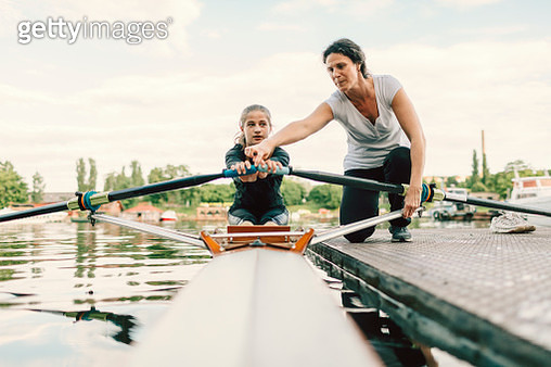 Single Scull Rowing Instructions From Coach. - gettyimageskorea