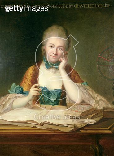 <b>Title</b> : Madame de Chatelet-Lomont (1706-41) (oil on canvas)<br><b>Medium</b> : oil on canvas<br><b>Location</b> : Private Collection<br> - gettyimageskorea