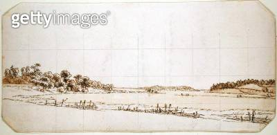 <b>Title</b> : Lakeside, 1802-3 (pen and brown ink wash with pencil on paper)<br><b>Medium</b> : pen and brown ink wash with pencil on paper<br><b>Location</b> : Hamburger Kunsthalle, Hamburg, Germany<br> - gettyimageskorea