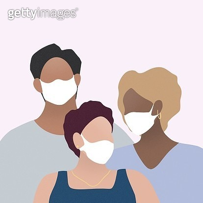 Three People Wearing Surgical Mask - gettyimageskorea