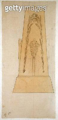 <b>Title</b> : Design for a monument, 1812 (pen with yellow wash on paper)<br><b>Medium</b> : pen with yellow wash on paper<br><b>Location</b> : Hamburger Kunsthalle, Hamburg, Germany<br> - gettyimageskorea