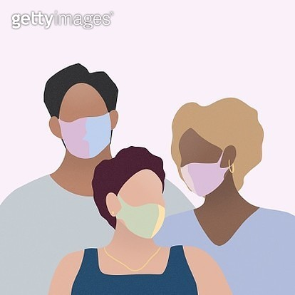 coronavirus, covid-19, three people, man, woman, fashionable, surgical mask, medical mask, social distance, quarantine, handle, home made surgical mask, hand made mask - gettyimageskorea