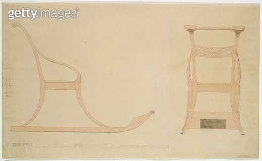 <b>Title</b> : Chair for a Sleigh (pen with reddish w/c on paper)<br><b>Medium</b> : pen with reddish watercolour on paper<br><b>Location</b> : Hamburger Kunsthalle, Hamburg, Germany<br> - gettyimageskorea