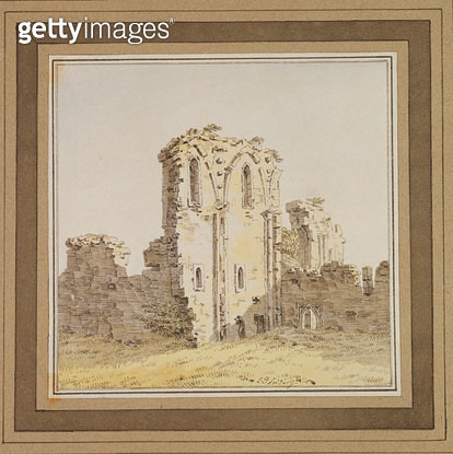 <b>Title</b> : Monastery Ruins (Gothic Church Ruin), c.1806 (pen and ink and w/c on paper)Additional InfoRuine mit Monch (Gotische Kirchenruine<br><b>Medium</b> : pen and ink and watercolour on paper<br><b>Location</b> : Hamburger Kunsthalle, Hamburg, Ger - gettyimageskorea