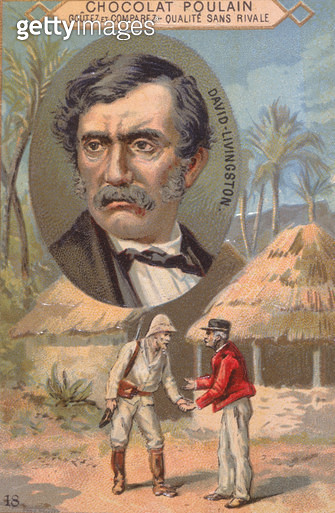 <b>Title</b> : The explorer David Livingstone (1813-73) and his meeting with Stanley (1840-1904) at Ujiji on 27th October 1871, trade card adve<br><b>Medium</b> : <br><b>Location</b> : Private Collection<br> - gettyimageskorea