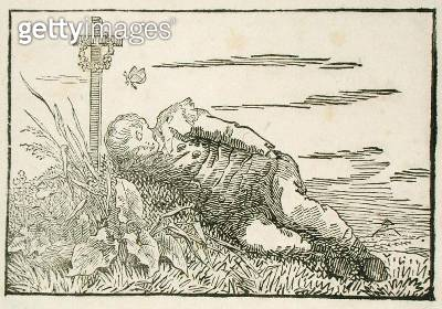 <b>Title</b> : Boy Asleep on a Grave, 1802 (woodcut)Additional InfoKnabe auf einem Grab Schlafend;<br><b>Medium</b> : woodcut<br><b>Location</b> : Hamburger Kunsthalle, Hamburg, Germany<br> - gettyimageskorea