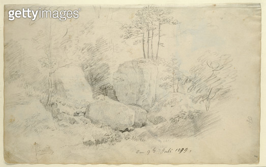 <b>Title</b> : Boulders in Woodland, 1800 (pencil on paper)<br><b>Medium</b> : pencil on paper<br><b>Location</b> : Hamburger Kunsthalle, Hamburg, Germany<br> - gettyimageskorea