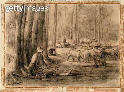 <b>Title</b> : The drinking place in the forest (black chalk on paper)<br><b>Medium</b> : black chalk on paper<br><b>Location</b> : The Barber Institute of Fine Arts, University of Birmingham<br> - gettyimageskorea