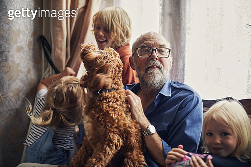 Grandfather spending time with his family - gettyimageskorea