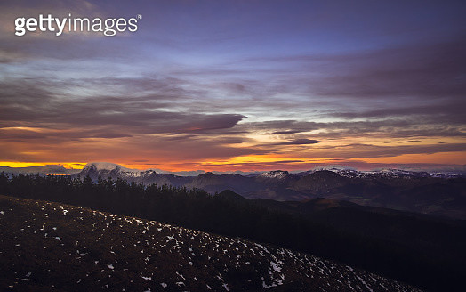 Winter sunrise in the mountains with snow peaks - gettyimageskorea