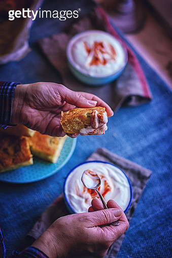 Corn Bread with Fresh Corn and Jalapenos with Harissa Yogurt - gettyimageskorea