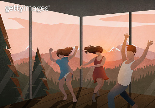 Carefree friends dancing in house with sunset mountain view - gettyimageskorea
