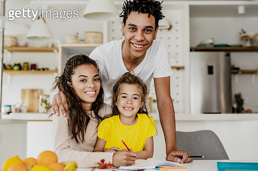 Family portrait at home - gettyimageskorea