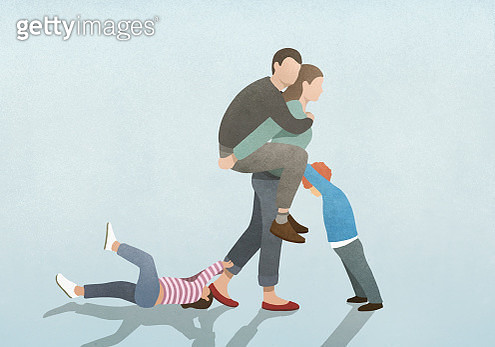 Woman burdened by husband on back and children pulling and pushing - gettyimageskorea