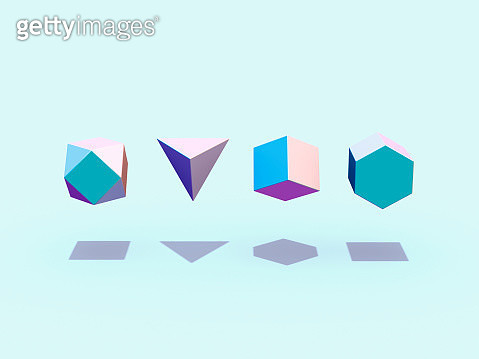 Floating geometric shapes - gettyimageskorea