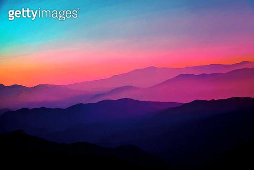 Background Abstract Misty Mountain Range Colourful Wallpaper Digital Art Gradiant Pastel Dramatic Backdrop - gettyimageskorea
