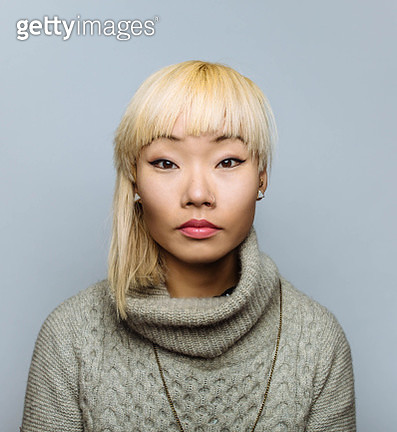 Portrait of Asian woman with blonde hair - gettyimageskorea