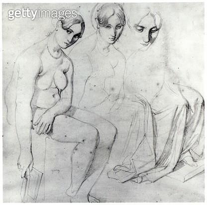 <b>Title</b> : Study for Francesca da Rimini (pencil on paper) (b/w photo)<br><b>Medium</b> : pencil on paper<br><b>Location</b> : Private Collection<br> - gettyimageskorea